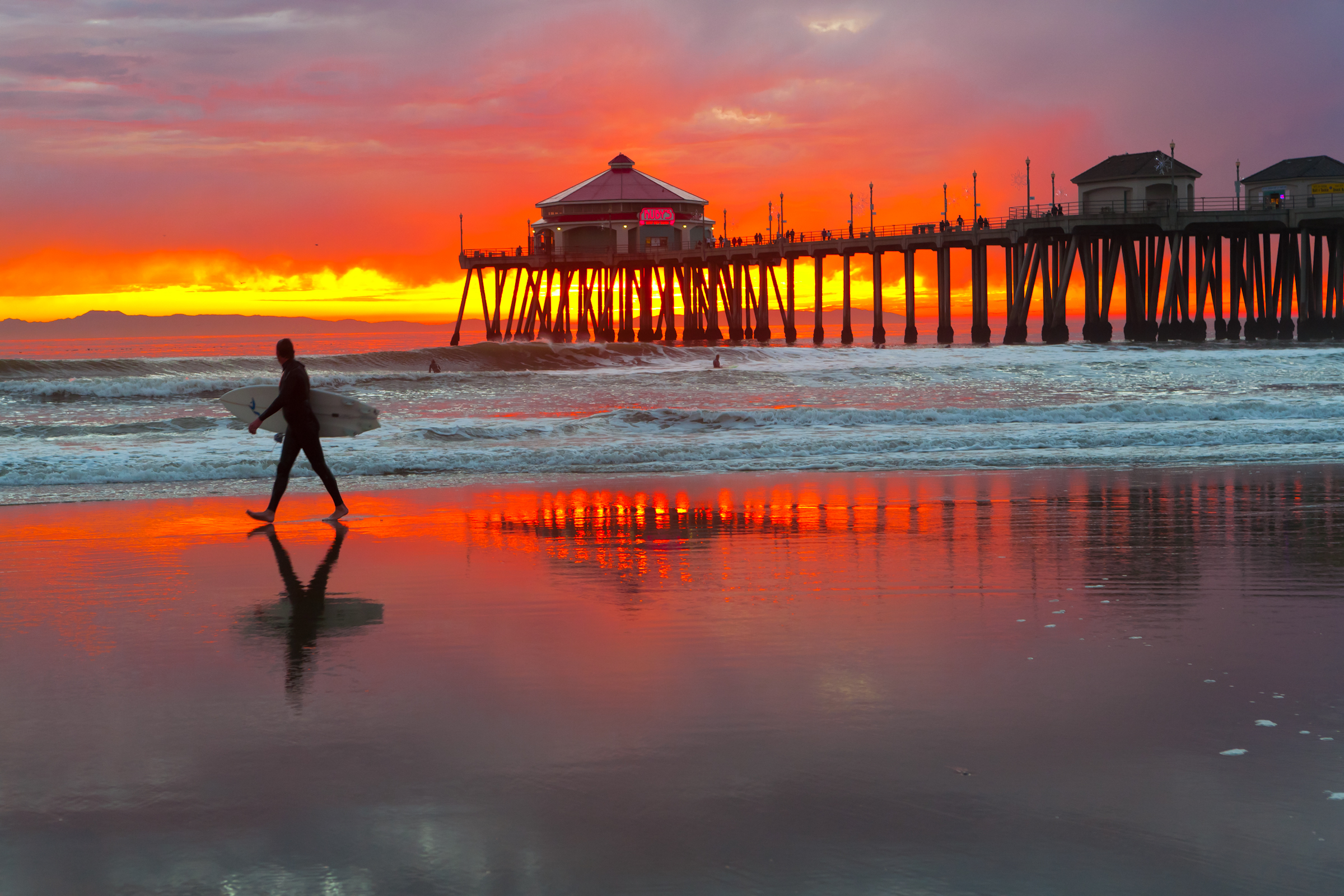 California Beach Sunset With Surfer Pictures To Pin On