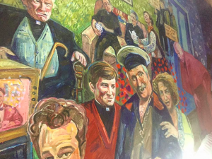 pub with father ted mural